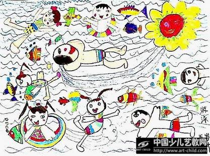 幼儿绘画游泳图片