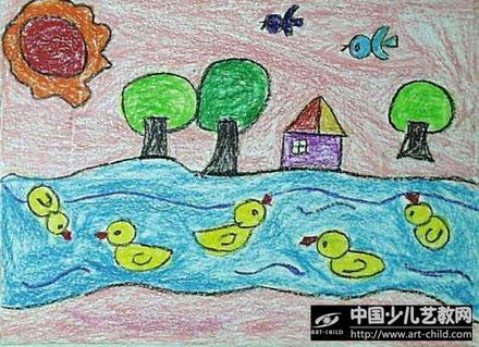 河流儿童画