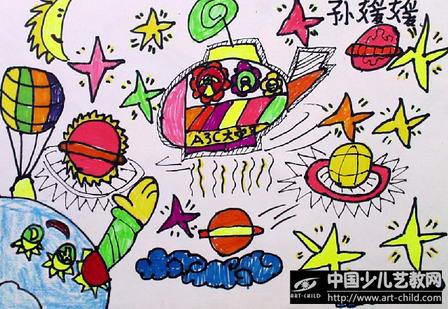 儿童简笔画太空遨游分享展示图片