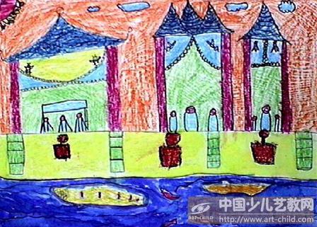 有亭子的风景儿童画