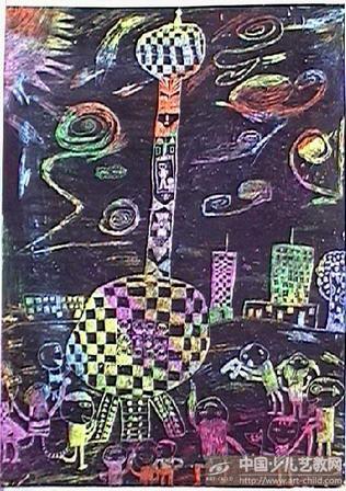 东方明珠儿童画_绘画分享图片