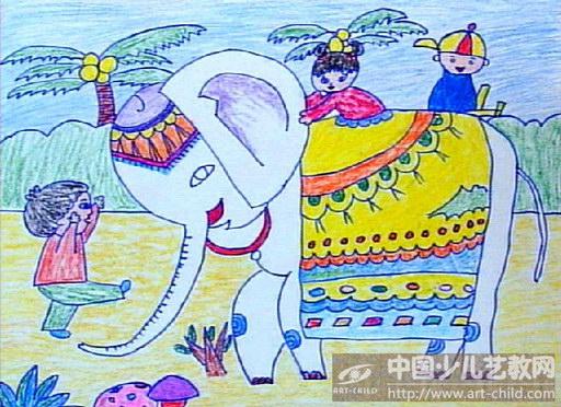 水粉大象儿童画