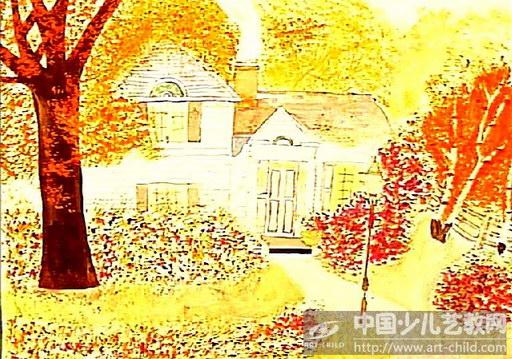 儿童画秋天的图画丰收的秋天儿童画儿童画秋天的景色