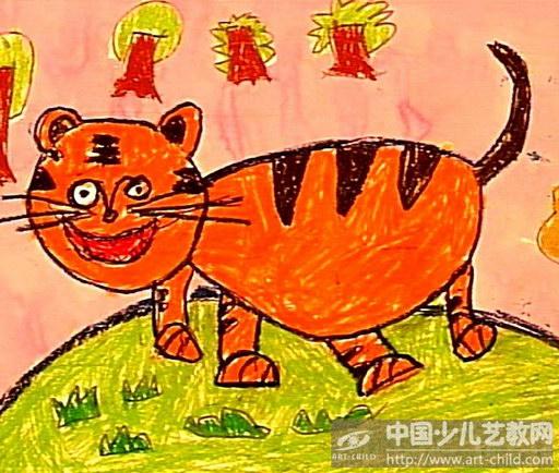 幼儿绘画作品老虎