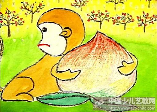 儿童画猴子图片