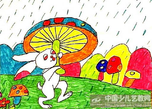 作品名称:  《举蘑菇的小白兔》