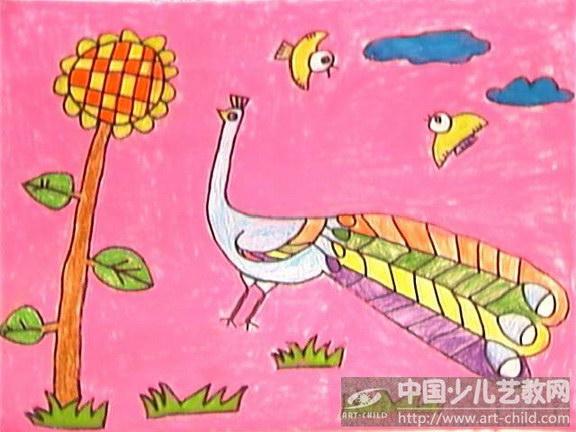 孔雀儿童画范画