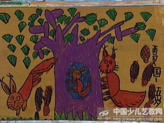 幼儿松树绘画作品