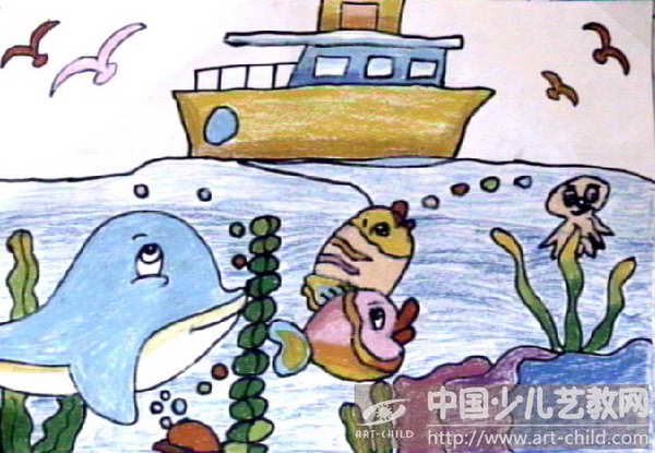大海儿童画图片