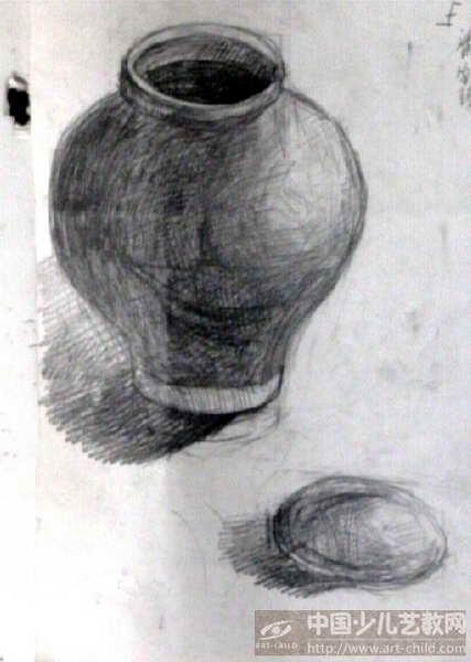 单个罐子素描结构图