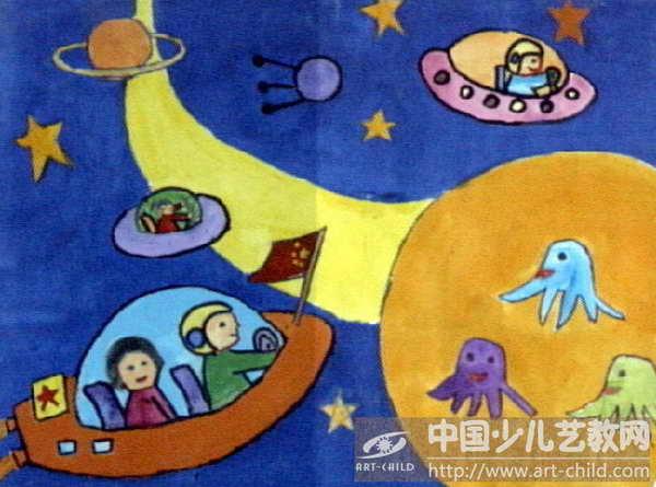 幼儿水粉画月亮