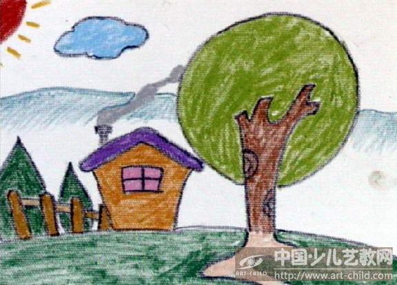 儿童画家乡美景美丽的家乡儿童画儿童画美丽的家乡