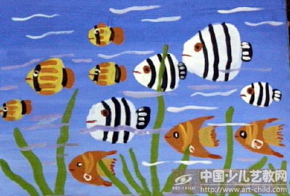 作品   剪贴海底世界儿童画, 儿童 手工制作 海底世界 剪贴