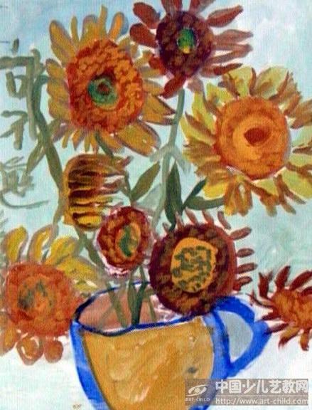 向日葵儿童画少儿水粉画儿童画向日葵向日葵画