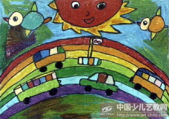 树林油画棒图画