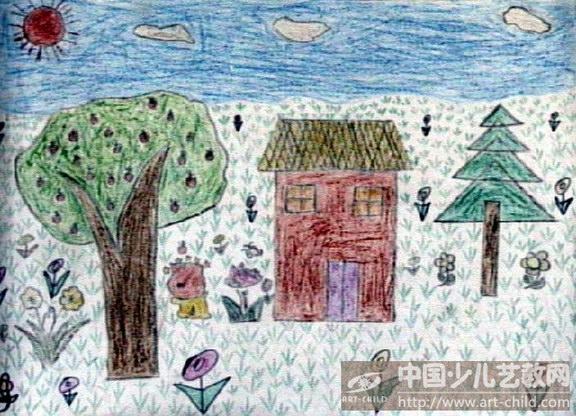 我的家乡图画作品小学分享展示