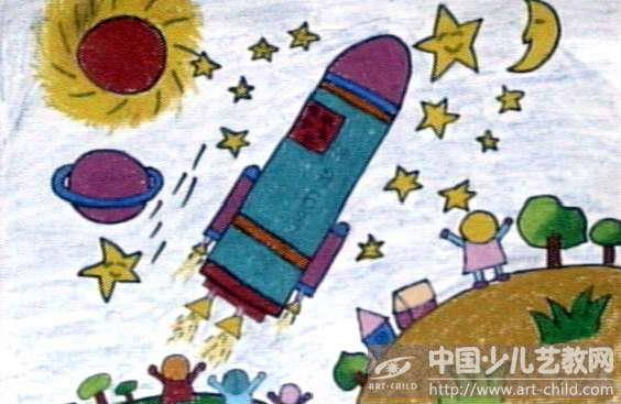 儿童画太空图片大全太空宇宙星球儿童画宇宙星球图片