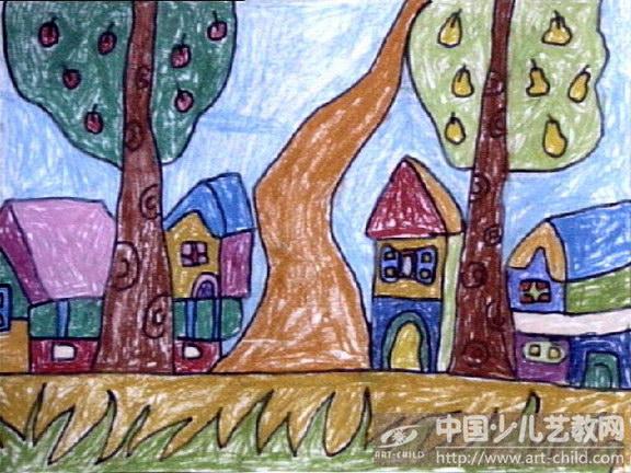 幼儿森林创意画蜡笔画