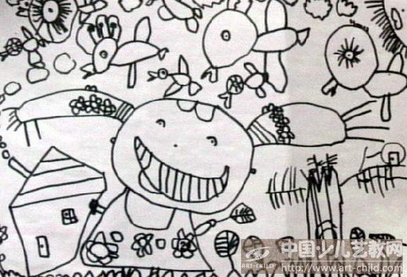 有趣的叶子儿童画