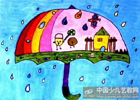 下雨啦儿童画_绘画分享图片
