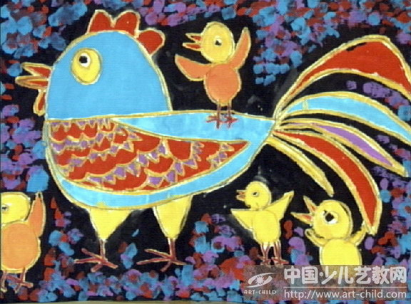 少儿画少儿水粉画儿童画公鸡儿童画