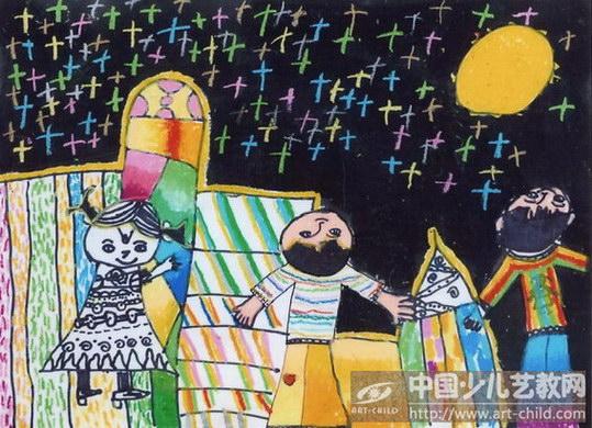 《中秋节晚看月亮》