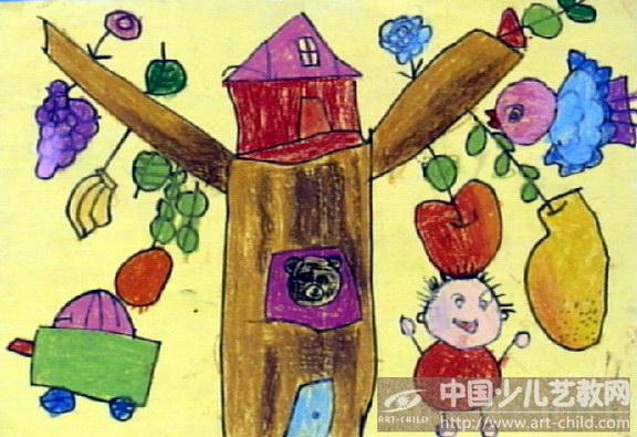 怎样画二年级美术课本上的大树的故事图片
