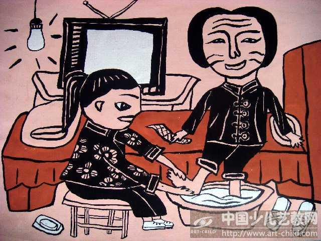 给妈妈洗脚儿童画帮妈妈洗脚儿童画我给妈妈洗脚儿童