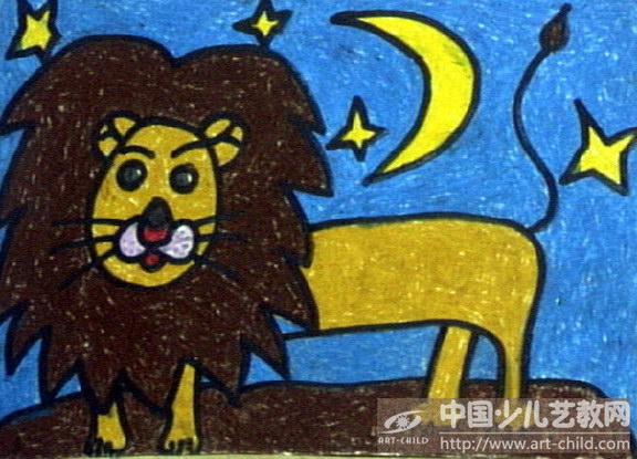 狮子儿童画步骤
