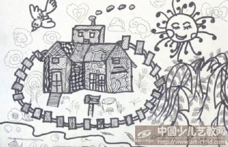 乡村风景简笔画