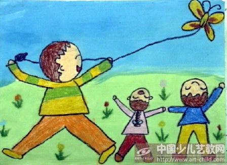 绘画春天放风筝展示图片