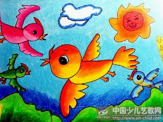儿童画愤怒的小鸟