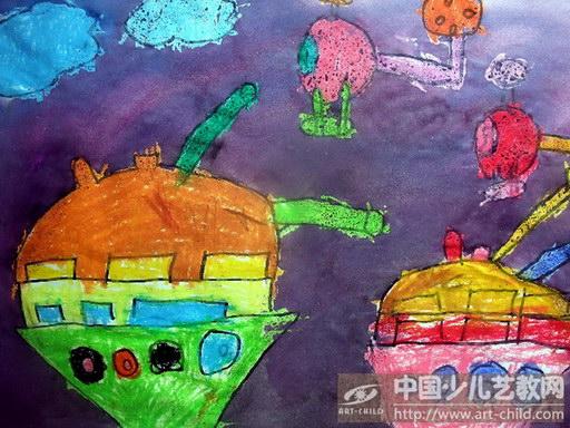 阅兵式儿童绘画