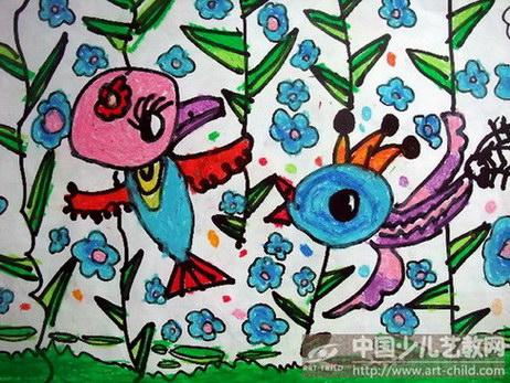 儿童画小鸟飞翔的小鸟幼儿绘画小鸟飞翔的小鸟儿童画