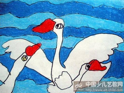 天鹅卡通绘画