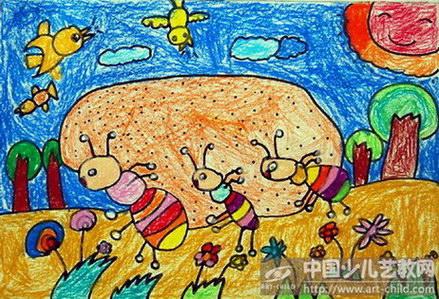 蚂蚁彩色卡通简笔画