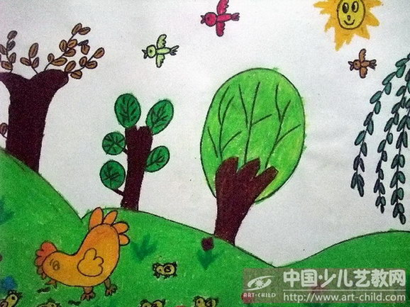儿童春天来了绘画作品