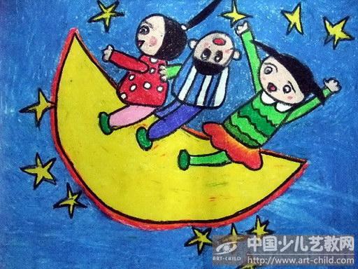 关于月亮儿童画