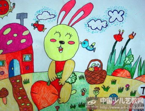 兔子拔萝卜简笔画