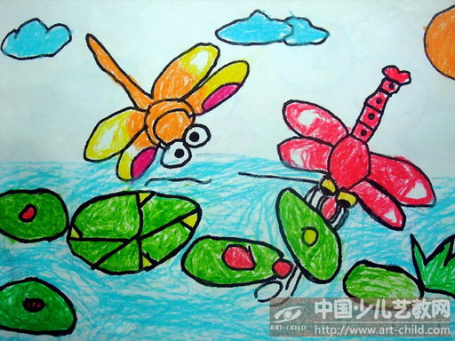 画美丽蜻蜓的步骤