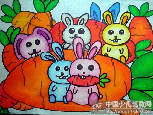 幼儿美术作品兔子