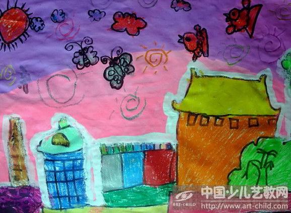 漂亮的建筑儿童画展示图片