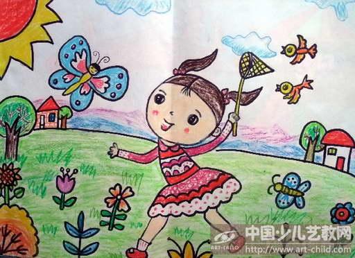 幼儿扑蝴蝶简笔画