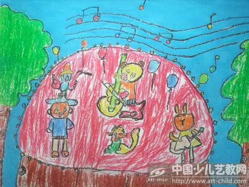 森林演唱会儿童画分享展示图片