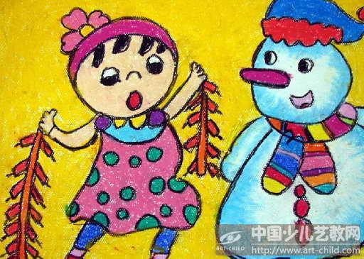 作品名称:  《我和雪人过新年》图片