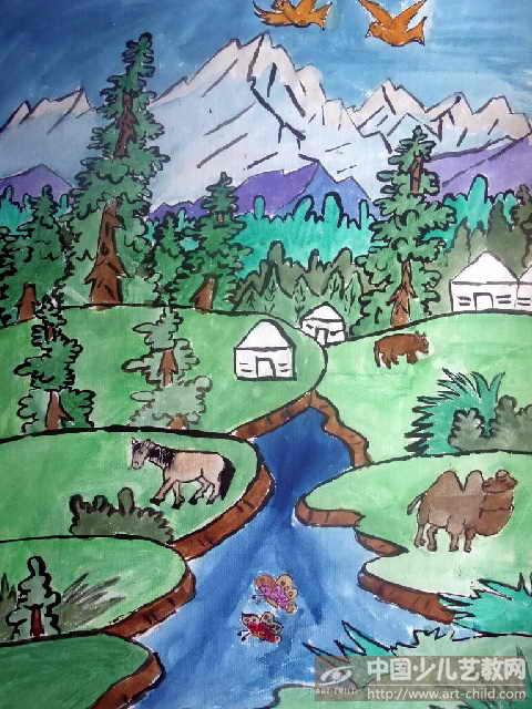 我的美麗家園兒童畫_風景520