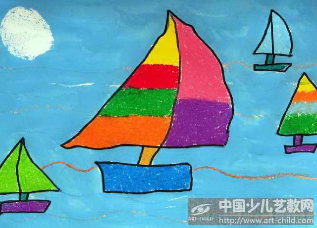 中班幼儿绘画船