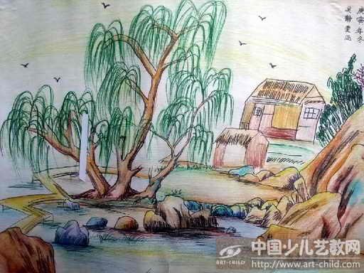 初中画画大全简单漂亮_初中风景画美术作业图片