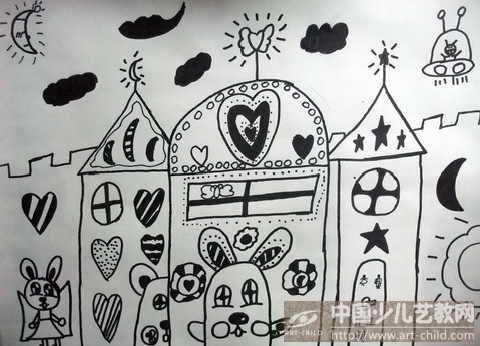 城堡儿童线描画