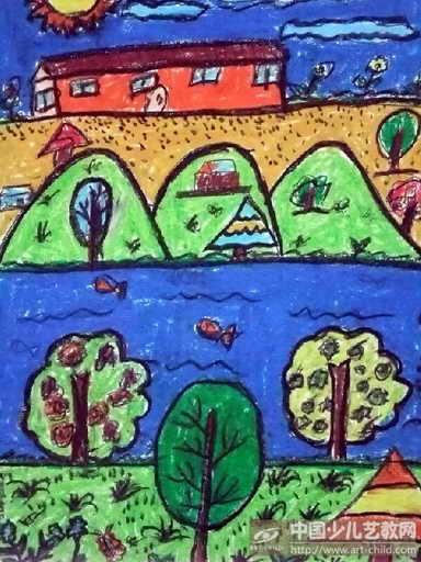 关于家乡的画获奖作品-关于家乡的画一等奖-家乡的美景画一年级-我的